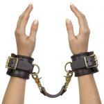 Coco de Mer Brown Leather Wrist Cuffs L/XL - Coco de Mer