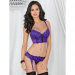 Escante Underwired Purple Longline Bra Set - Escante