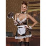 Exposed Fishnet and Lace French Maid Costume - Exposed