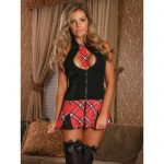 Exposed Zip Front Sexy Schoolgirl Costume Black - Exposed