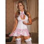 Exposed Zip Front Sexy Schoolgirl Costume White - Exposed