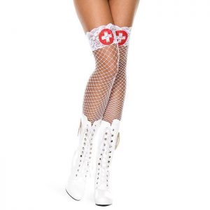 Lace Top Fishnet Nurse Stockings