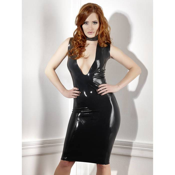 Late X Collection Plunge Latex Pencil Dress - Unbranded