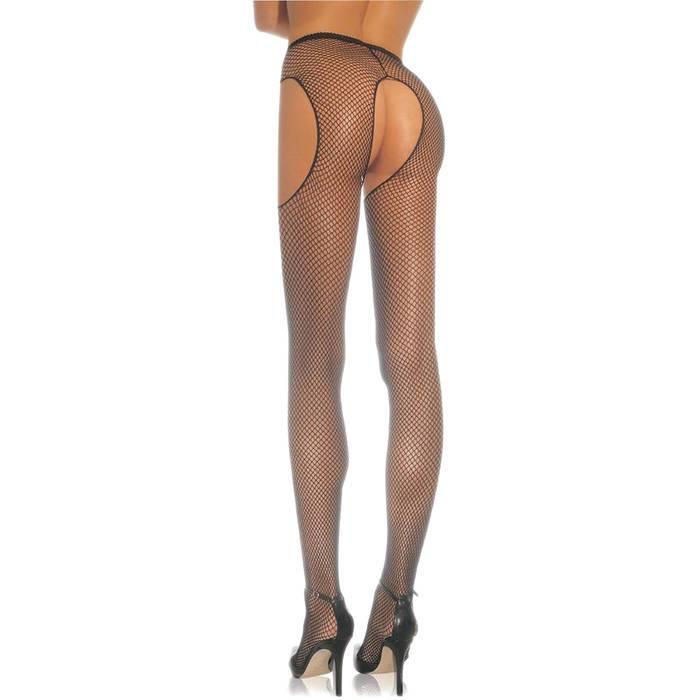 Leg Avenue Plus Size Fishnet Crotchless Suspender Tights - Leg Avenue