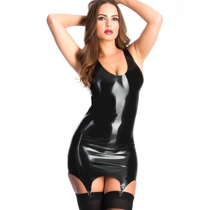 Rubber Girl Latex Mini Dress with Suspenders - Rubber Girl Latex