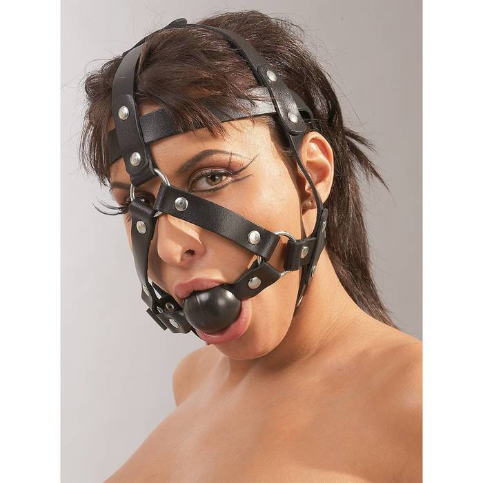 Zado Leather Head Harness and Medium Ball Gag - Unbranded
