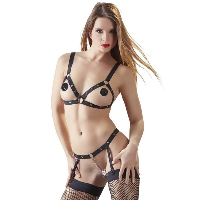 Bad Kitty Strappy Open Cup Bra Set - Bad Kitty