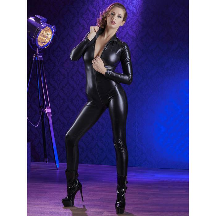 Cottelli Long Sleeve Zip-Through Wet Look Catsuit - Cottelli