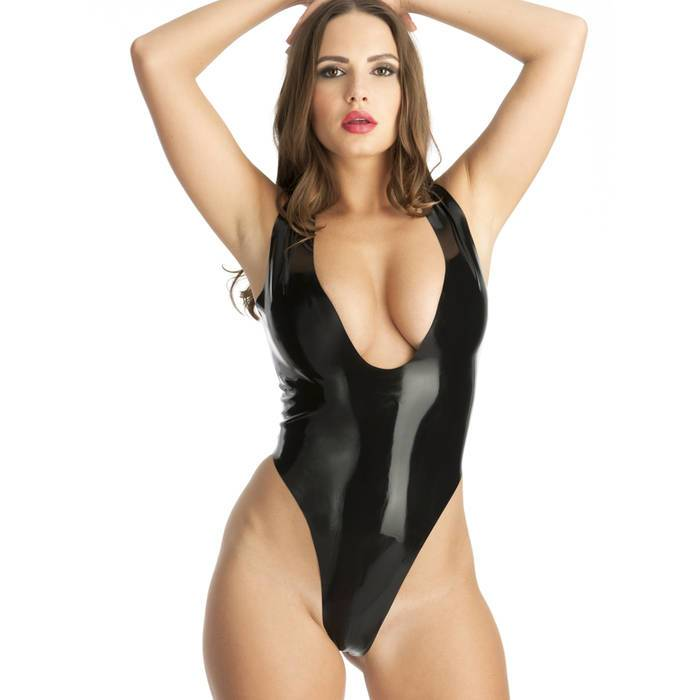 Rubber Girl Plunge Neck Crotchless Latex Body - Rubber Girl Latex