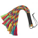 Bondage Boutique Rainbow Flogger with Leather Handle - Bondage Boutique