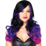Leg Avenue Allure Long Wavy Black and Purple Ombre Wig - Leg Avenue
